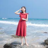 無袖洋裝 法國復古裙山本過膝紅色娃娃領單排扣顯瘦連身裙