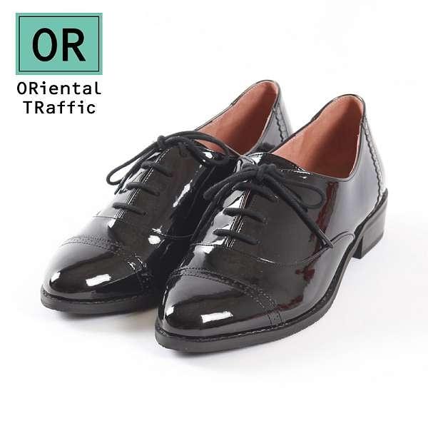 【ORiental TRaffic】洗鍊率性德比牛津綁帶鞋-洗鍊黑