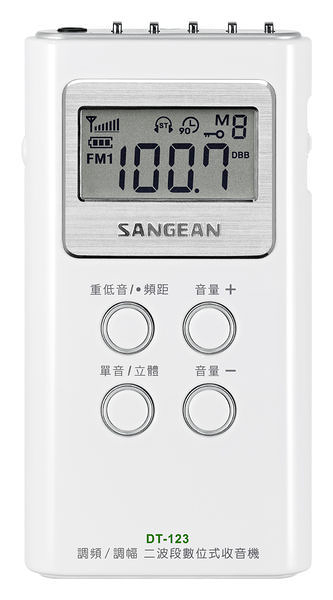 平廣 送收納袋 山進 SANGEAN DT-123 DT123 二波段數位式 收音機 公司貨保固一年