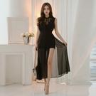無袖洋裝小禮服 2021夏季新款韓版OL氣質女人味性感蕾絲無袖收腰假兩件雪紡連身裙