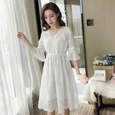 七分袖法國洋裝小眾雪紡蕾絲連身裙子女裝春秋夏天新款流行大碼連身裙 降價兩天