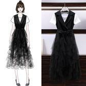 兩件式洋裝 韓版 中大尺碼 婚禮小禮服 T恤+網紗裙 花漾小姐【預購】