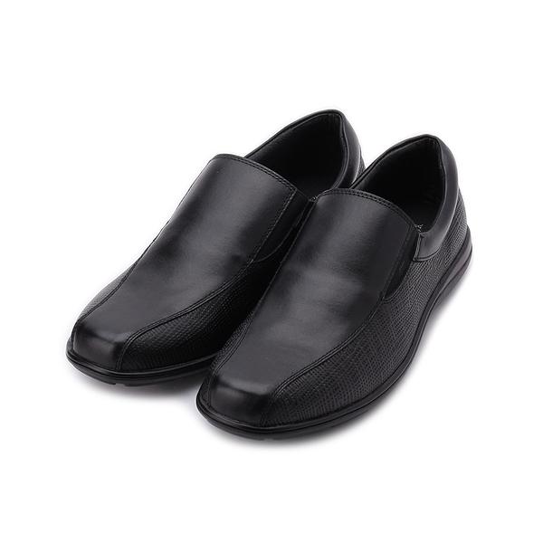 BONJO 真皮方頭壓點套式休閒鞋 黑 男鞋