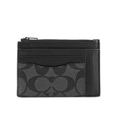 【COACH】PVC拚皮革零錢包/卡夾(黑灰色) F66649 QBMI5