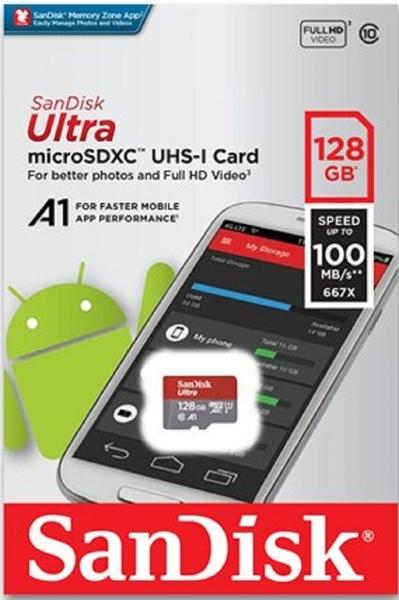 SanDisk 128GB 128G microSDXC【ultra 100MB/s】microSD micro SD SDXC A1 U1 Class 10 C10 SDSQUAR-128G 手機記憶卡