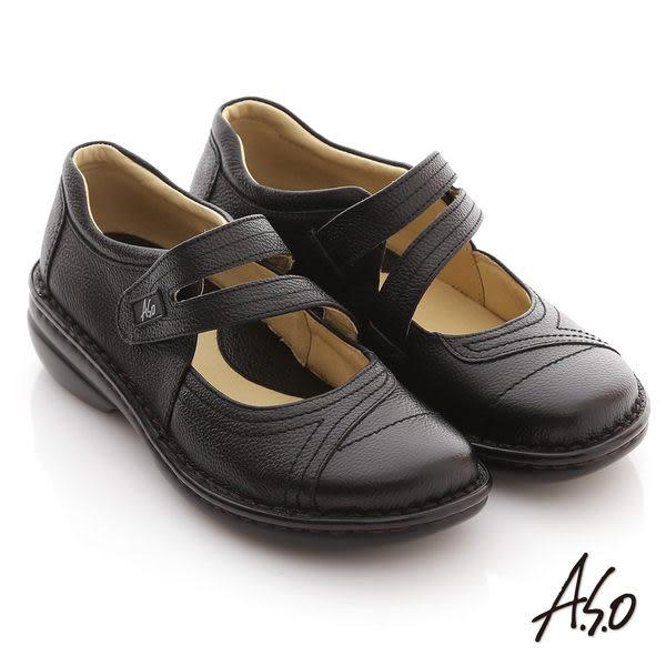 A.S.O 手縫氣墊 全真皮手縫魔鬼氈氣墊涼鞋 黑