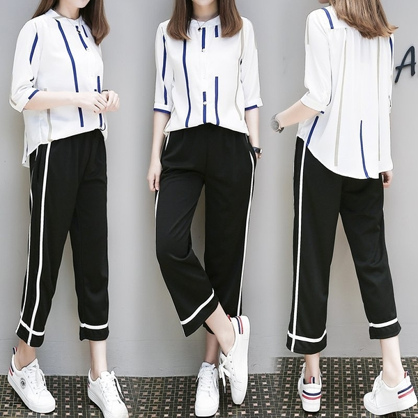 FINDSENSE G6 韓國時尚 新款 條紋 兩件套 女裝 五分袖 雪紡 襯衫