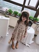 春秋新款 女童寶寶田園風花邊立領洋裝 兒童玫瑰花印花裙子 安妮塔小鋪