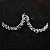 耳環 925純銀鑲鑽-個性月牙形生日情人節禮物女耳針73gt102【時尚巴黎】