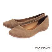 Tino Bellini 巴西進口立體壓紋真皮舒適平底娃娃鞋_淺駝 VI1205B 歐洲進口款