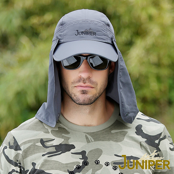 遮陽帽子-防曬抗紫外線UV防潑水遮陽帽+可拆式披風及口罩J7239 JUNIPER