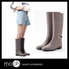 歐美拚接防水搭扣長筒女雨鞋 棕色 mo....