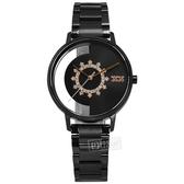 NATURALLY JOJO / JO96966-88F / 雪花晶鑽 半鏤空設計 藍寶石水晶玻璃 日本機芯 不鏽鋼手錶 鍍黑 34mm