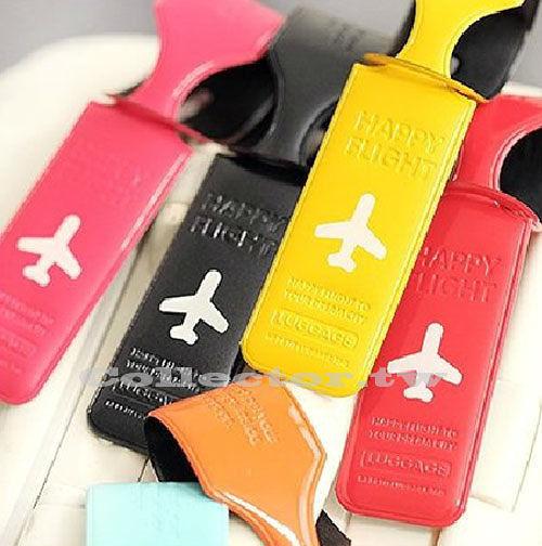 韓國-糖果色條形行李箱名片托運牌 行李牌 行李吊牌 旅行拉杆吊牌 (顏色隨機出貨)