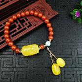 【新年鉅惠】原創設計DIY流行飾品天 然南紅14k包金貔貅蜜蠟情侶手鍊手鍊手串