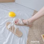 涼鞋女仙女風ins潮2020新款夏季時尚百搭網紅學生女士平底羅馬鞋 朵拉朵YC