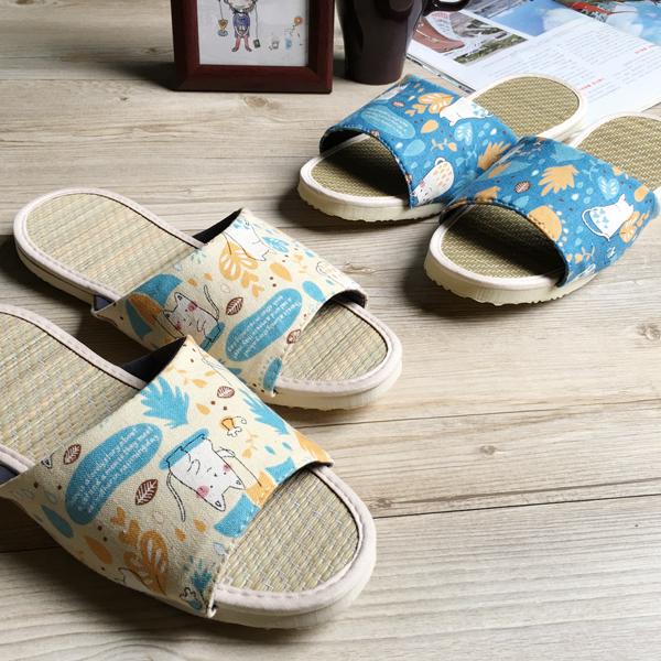 小時光-真草蓆拖-草蓆室內拖鞋-時光貓咪-米
