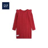 Gap女嬰兒荷葉邊長袖針織洋裝492737-摩登紅色