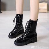 馬丁靴女百搭英倫風瘦腳機車靴粗跟休閒切爾西短靴新款中筒靴 檸檬衣舎