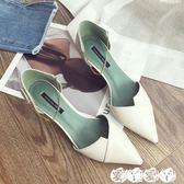 高跟鞋 時尚尖頭女士單鞋女韓版百搭女鞋子潮細跟高跟鞋【全館9折】