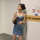 裙子2021年新款小個子氣質吊帶洋裝女夏修身顯瘦短款牛仔裙短裙 【端午節特惠】