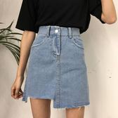 窄裙牛仔半身裙女夏裝2018韓版高腰不規則chic韓風裙子A字短裙 曼莎時尚