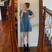 大碼洋裝 大碼牛仔洋裝女夏季新款胖mm收腰顯瘦泡泡袖方領氣質A字裙 檸檬衣舍
