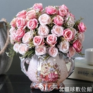 歐式仿真花束絹花插花擺件客廳茶幾餐桌假花干花盆栽裝飾塑料花藝『3C環球數位館』