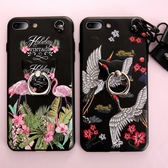 iPhone 8 Plus 手機殼 可愛小鶴 矽膠防摔 掛繩掛脖 卡通浮雕軟殼 保護殼 保護套 全包手機套 iPhone8