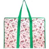 小禮堂 Hello Kitty 大型購物袋 防水 棉被袋 衣物收納袋 側背袋 (綠粉 櫻桃) 4710243-59611
