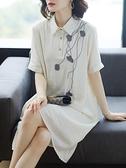寬鬆直筒洋裝女2021夏款中年40歲貴夫人減齡媽媽洋氣棉麻風裙子 幸福第一站