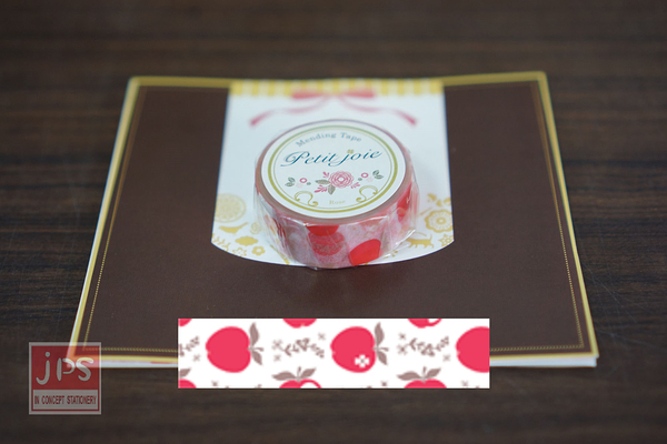 【NICHIBAN】 日絆 Petit Joie Mending Tape 花邊隱形膠帶 蘋果 (PJMD-15S012)