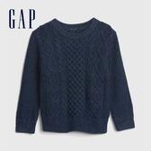 Gap男幼童 時尚絞花織紋圓領針織衫 593520-淺靛藍