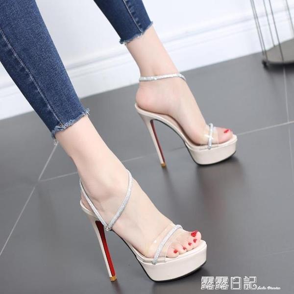 涼鞋女2020新款夏季水鉆高跟鞋女細跟防水台超高跟12CM歐美風女鞋 露露日記