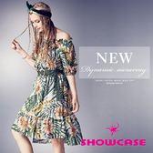 【SHOWCASE】熱帶花葉印花平領露肩縮腰洋裝(綠)