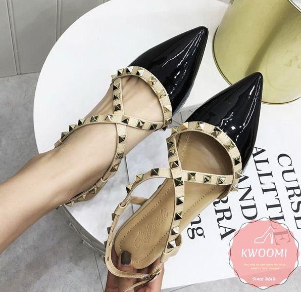 尖頭平底鞋 漆皮交叉撞色後挖空鉚釘滾邊 涼鞋 高跟鞋*Kwoomi-A31