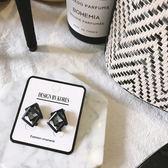 【Z530043】幾何正方形水鑽造型耳針式耳環/耳飾-Upbeat