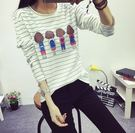 (全館免運) DE SHOP~條紋女背影長袖上衣 - DR-5535