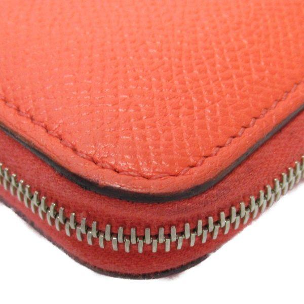 HERMES 愛馬仕 T5 Rose Jaipur 糖果紅絲巾零錢包 Azap Compact 【二手名牌 BRANDOFF】