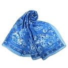LANVIN花鳥印花披肩絲巾(藍色)487999