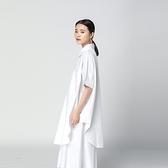 襯衫-短袖純色中長版寬鬆簡約休閒女上衣73th8【時尚巴黎】