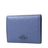 美國正品 COACH 專櫃款 防刮皮革開釦式短夾-寶石藍【現貨】