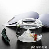 魚缸 北歐雪山頂玻璃金魚缸辦公桌小型桌面水培花瓶缸烏龜假山斗魚缸 原野部落