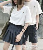 情侶T恤 情侶裝夏裝新款韓版夏季短袖氣質套裝情侶款上衣男女T恤bf風   傑克型男館
