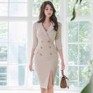 OL洋裝 裙子女秋冬韓版氣質西裝領輕熟風修身職業雙排扣連身裙  店慶降價