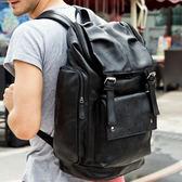 韓版PU皮後背包 男雙肩書包 可放15吋筆電《印象精品》a973