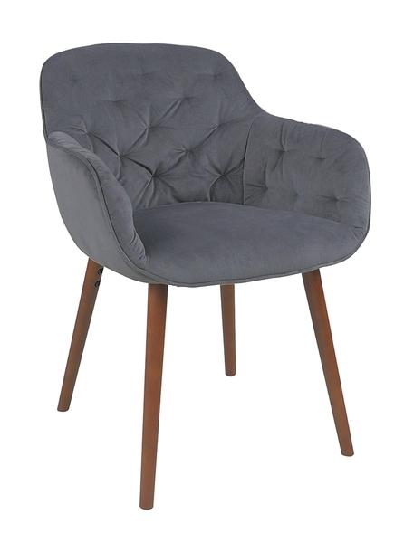 【森可家居】潘朵拉櫸木腳灰色餐椅 8JF38351 絨布 拉扣 北歐風 單人椅 設計師款