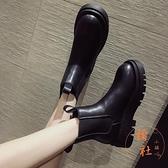 馬丁靴女加絨秋冬煙筒切爾西短靴厚底中長筒靴子【橘社小鎮】