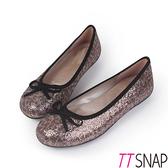 娃娃鞋-TTSNAP MIT全真皮 晶耀蝴蝶結柔軟Q平底鞋 亮片咖
