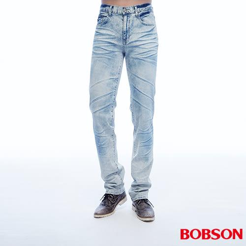 BOBSON 男款低腰壓摺直筒褲(1808-58)